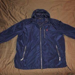 Navy Blue Polo zipper hoodie (rain jacket)
